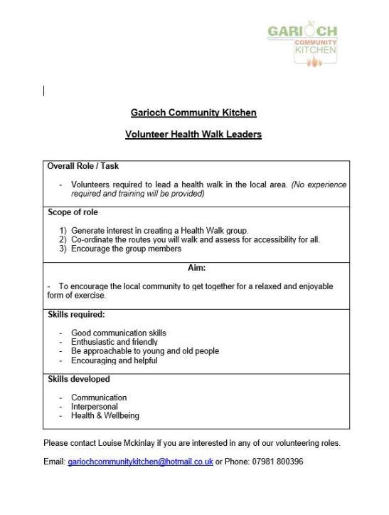 Health Walk Leaders Vacancy