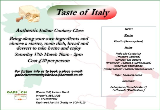 Italian Cookery Classes Mar 18
