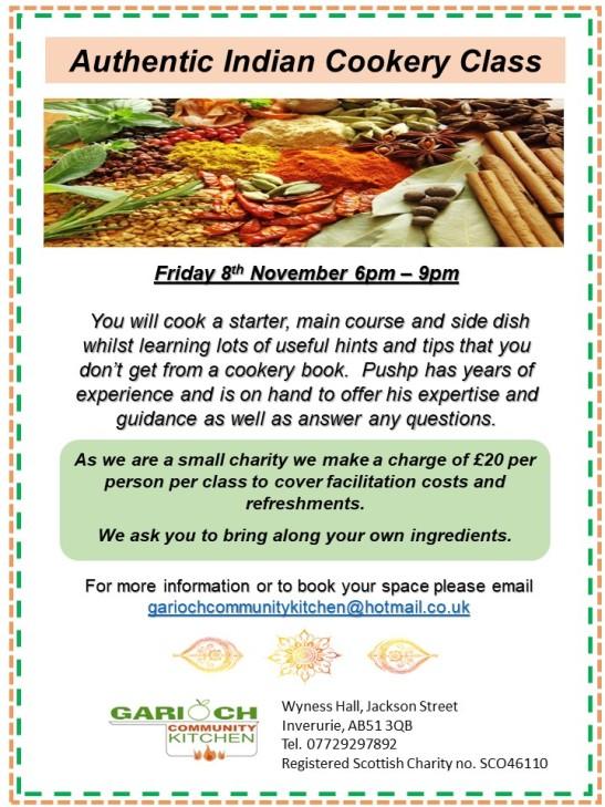 Indian Cookery Class Fri 8th Nov 19
