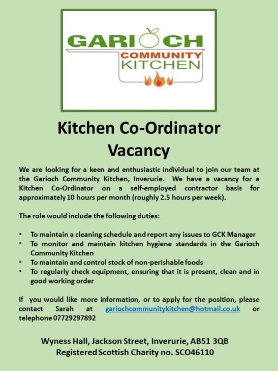 Kitchen Co-Ordinator Vacancy FB