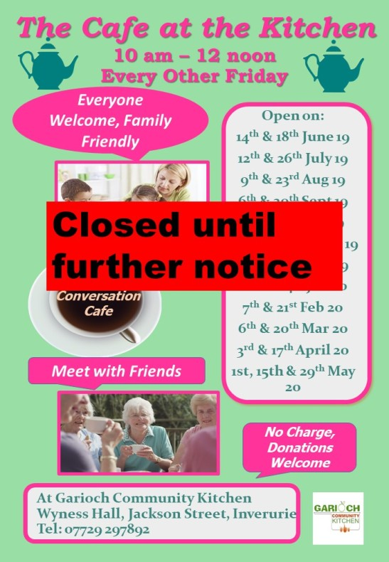 The Café at the Kitchen 19 -20 Closed until further notice